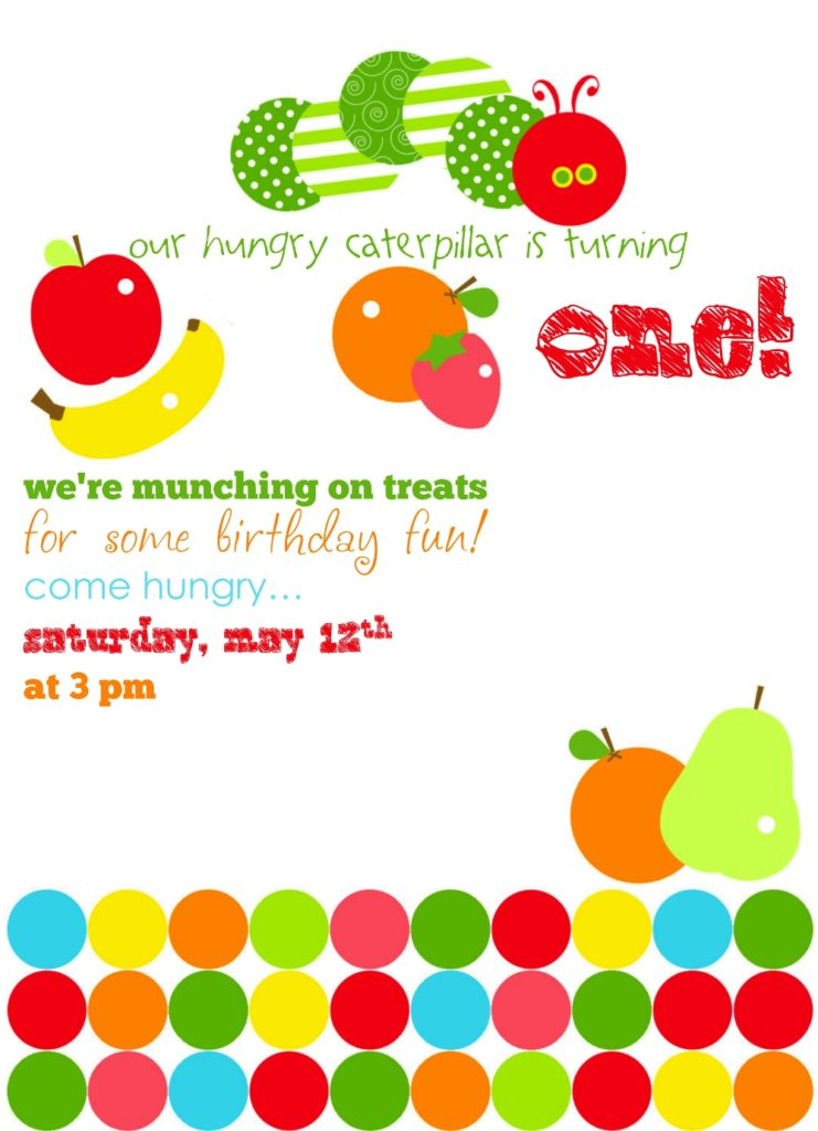 a very hungry caterpillar birthday invitation