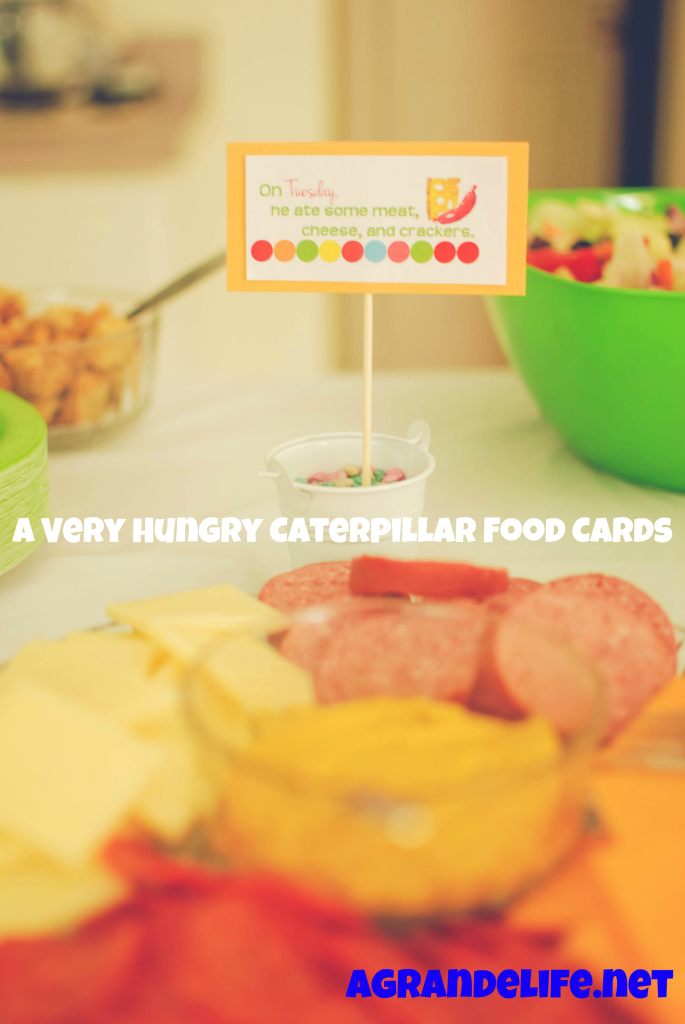 a very hungry caterpillar food cards