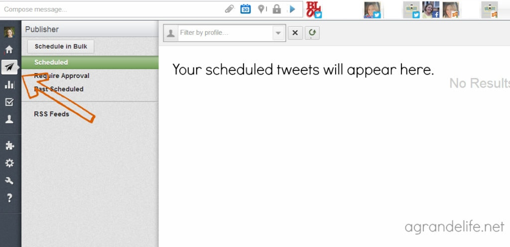 viewing scheduled tweets in hootsuite