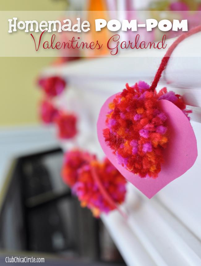 Homemade-Heart-Pom-pom-Valentines-garland-craft-idea