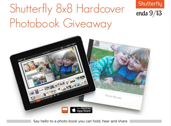shutterfly 8x8 hardcover photobook giveaway