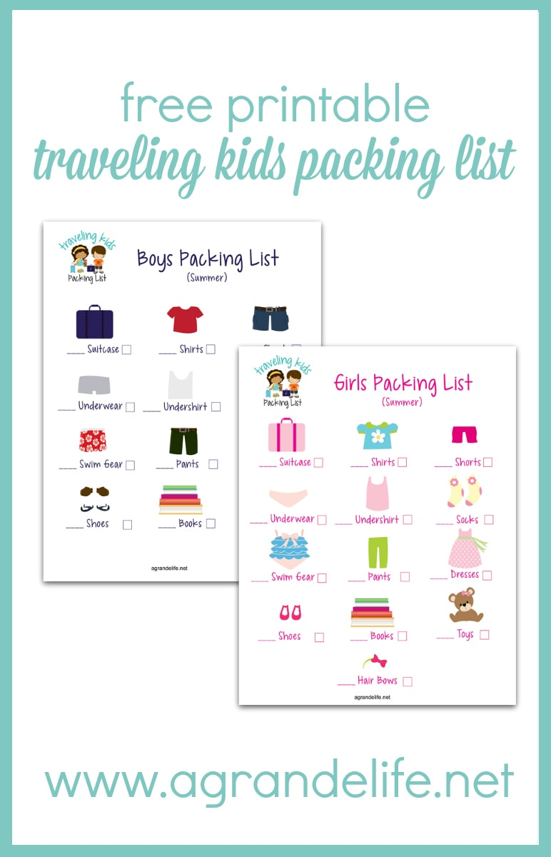 Free Printable Traveling Kids Packing List A Grande Life