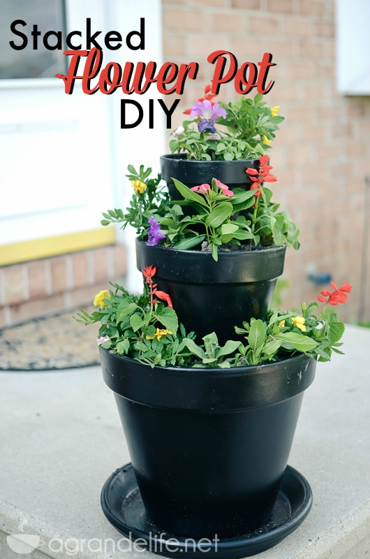 Diy Stacked Flower Pots A Grande Life