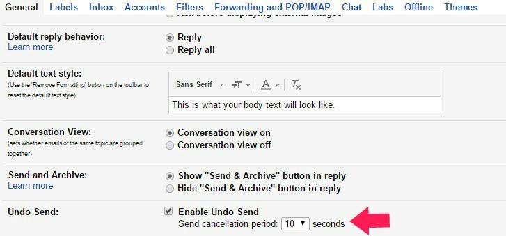 undo send setting