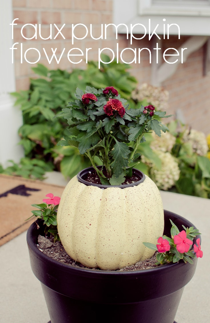 faux pumpkin flower planter