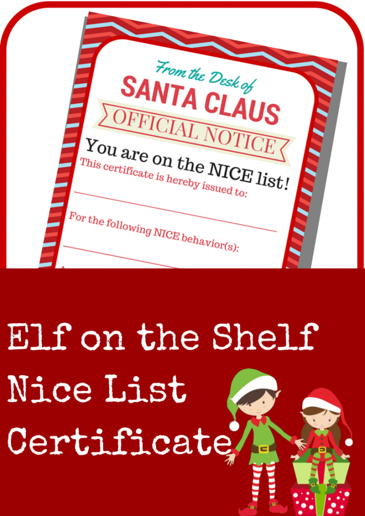 Elf on the Shelf Nice List Certificate