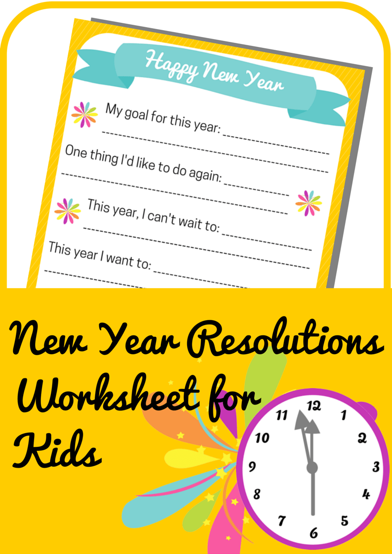 New Year Resolutions Worksheet for Kids