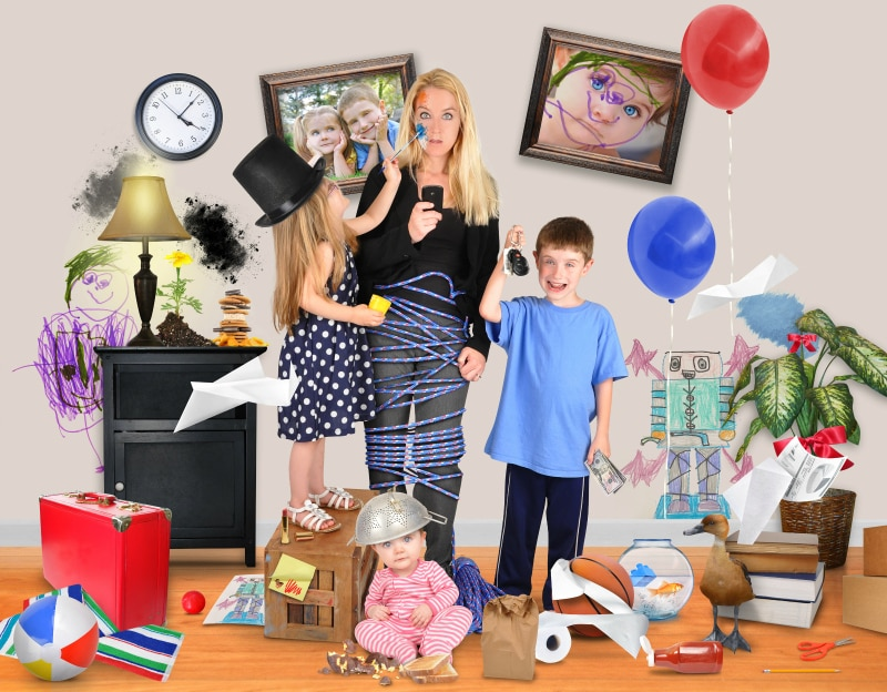 A working mother is stressed and tried on a cell phone with wild children and a baby making a mess in the home for a discipline or parenting concept.