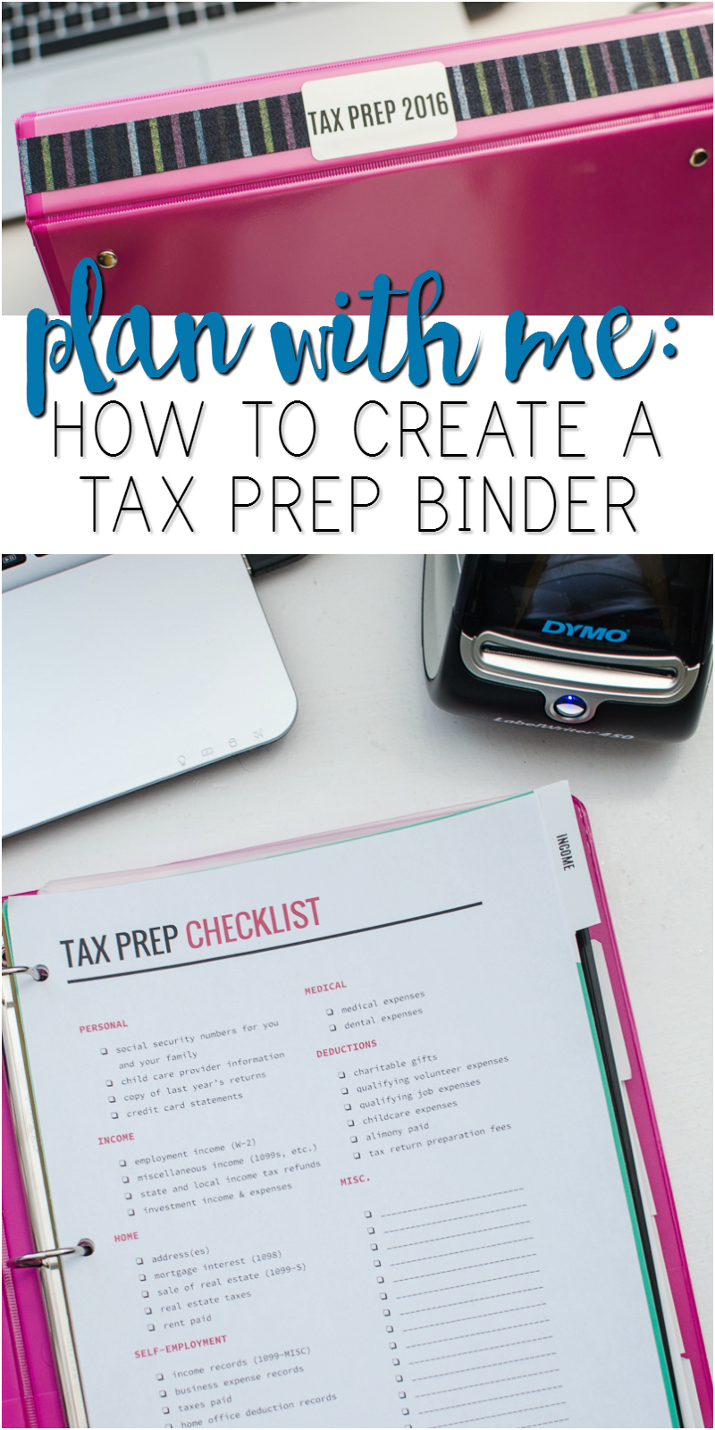 how to create a tax prep binder