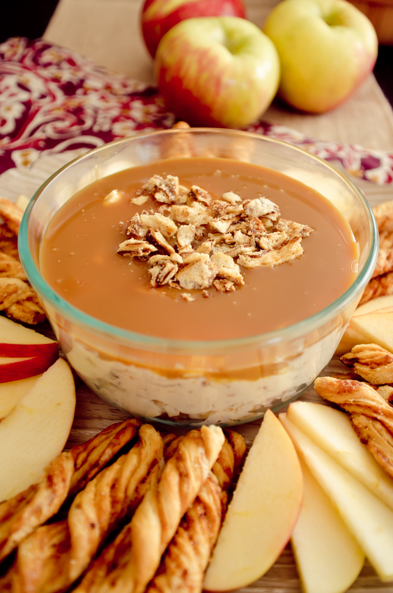 Caramel Cream Cheese Apple Dip-6