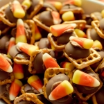 Candy Corn Chocolate Pretzel Bites