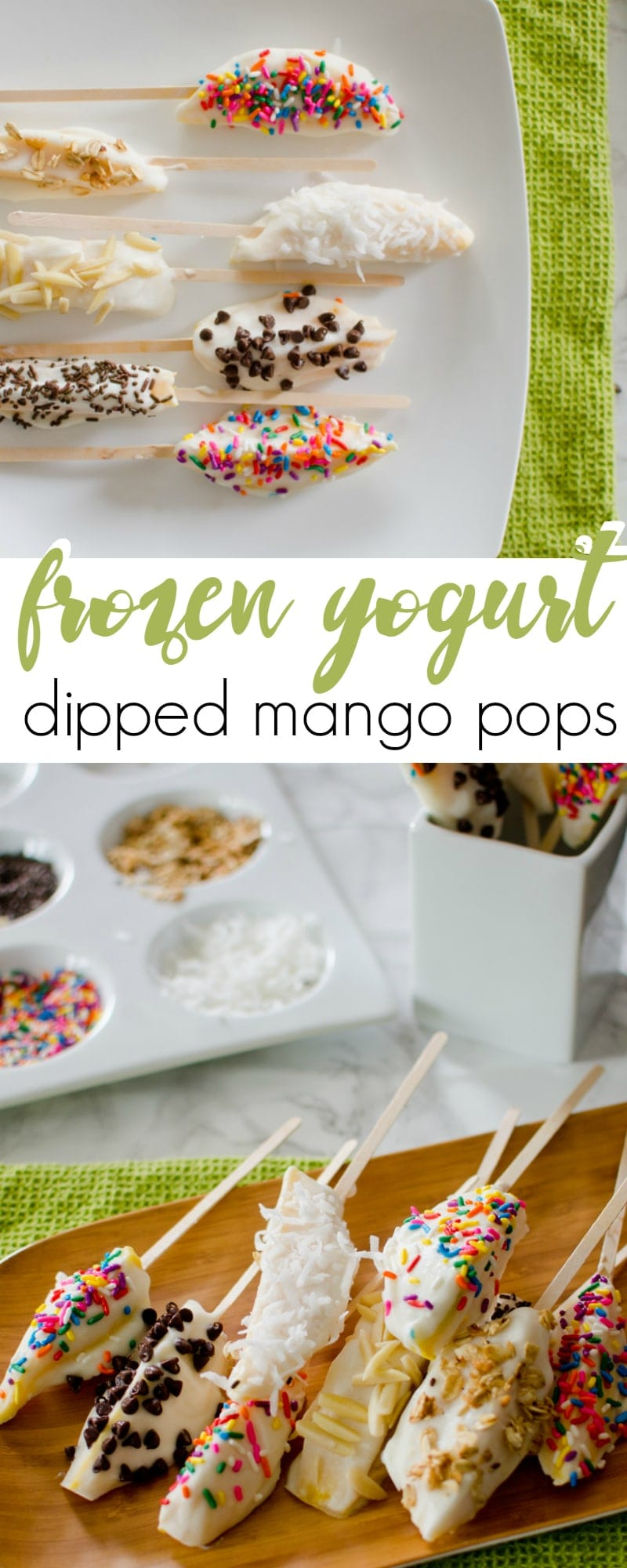 frozen yogurt dipped mango pops