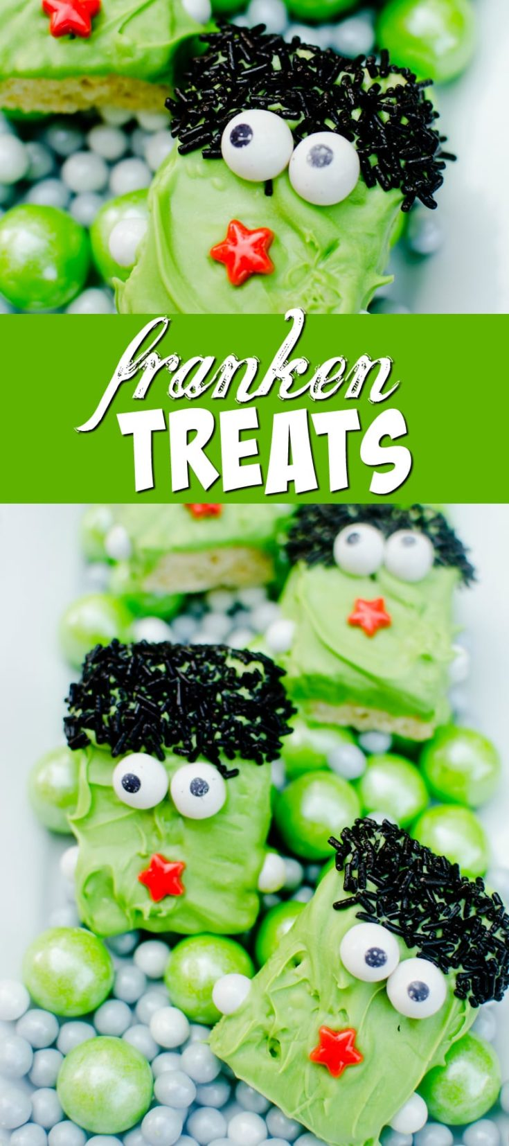 These Franken Treats are a fun and easy treat to make up for Halloween parties or class treats.