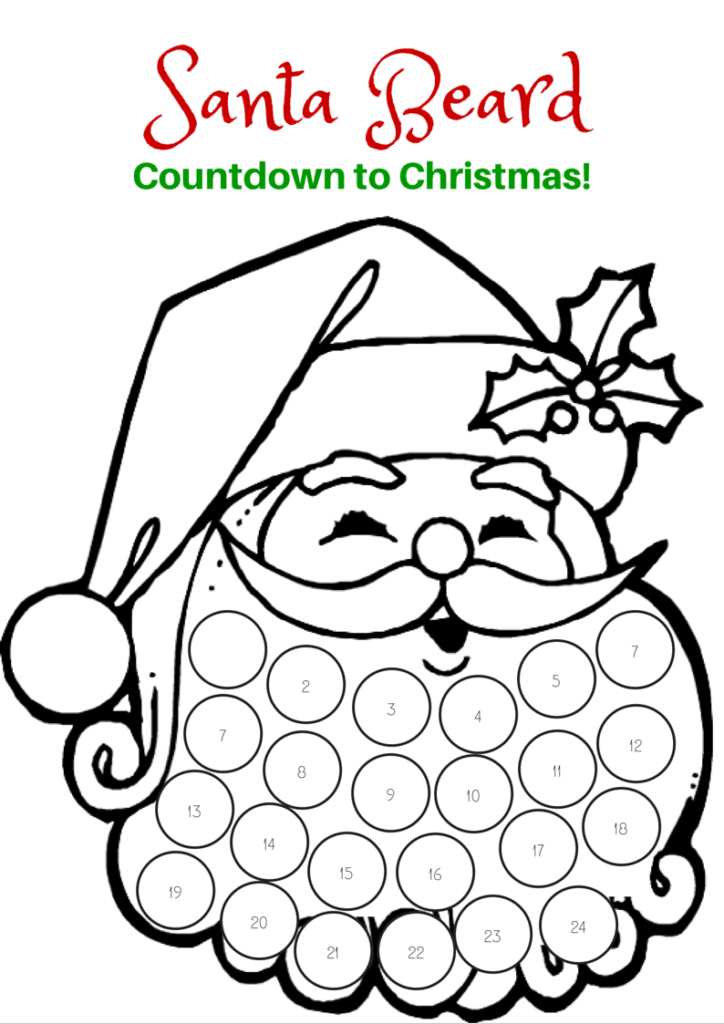 Santa Beard Coloring Page 2 With Printable Pages For Kids Beard