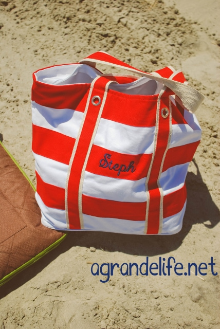 simply bags striped beach bag