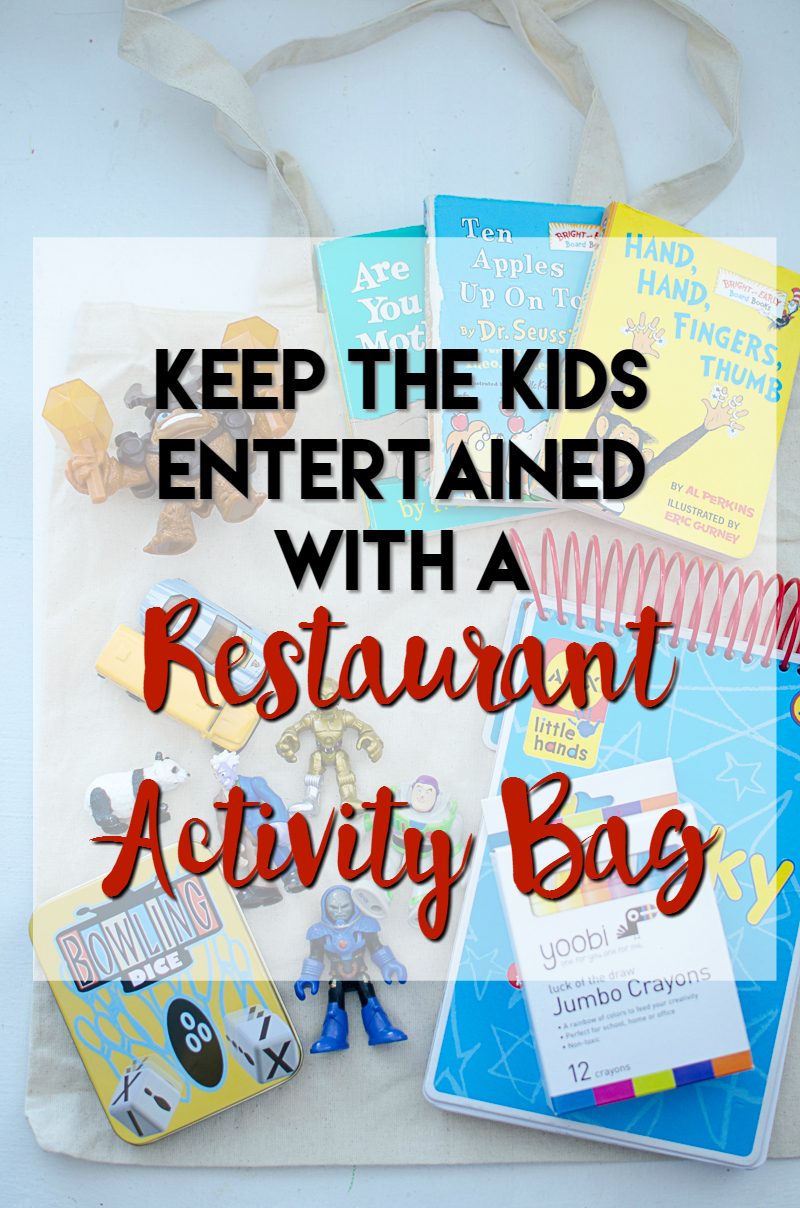 keep the kids entertained with a restaurant activity bag