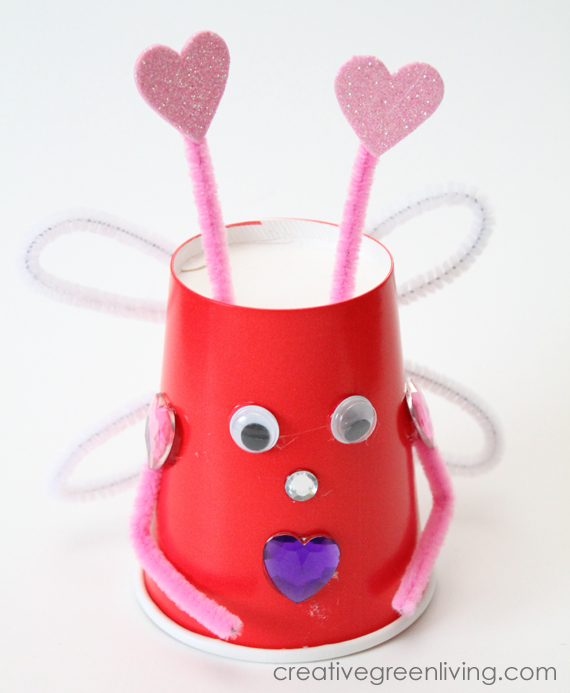 Love bug queen craft made from recycled paper cups
