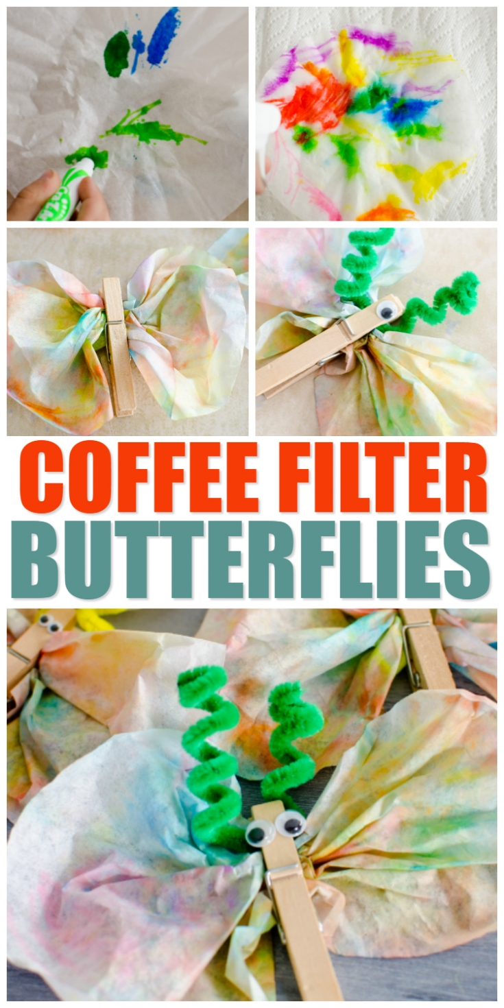 Make colorful butterflies with coffee filters, pipe cleaners, and some washable markers to welcome Spring!