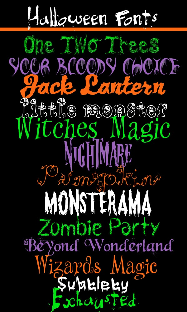halloween font for word