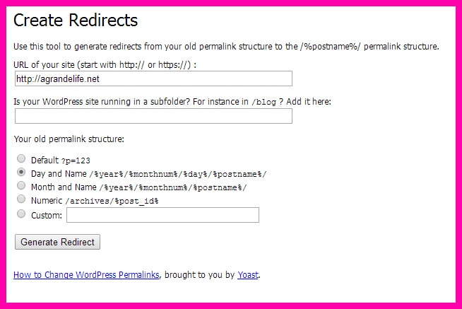 create redirects