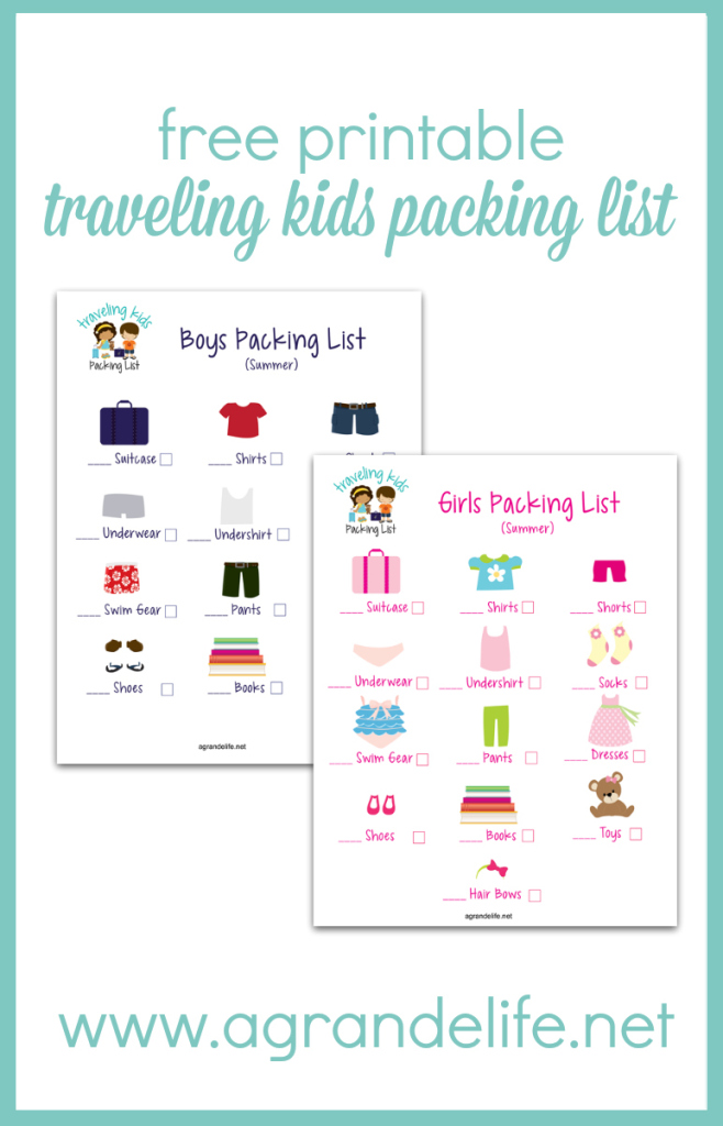 free printable traveling kids packing list