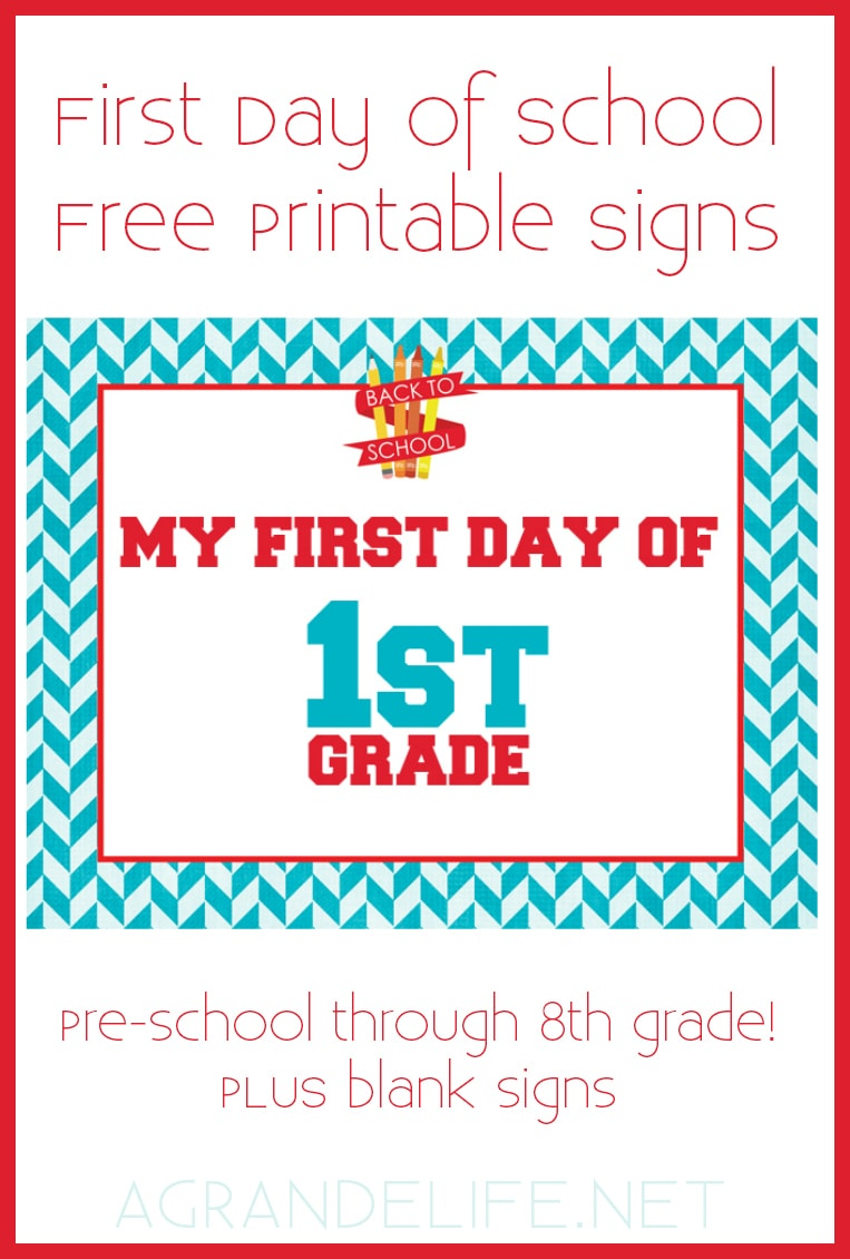 image regarding Free Printable Signs named Initially Working day of Higher education Cost-free Printable Indications - A Grande Lifetime