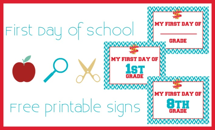first day of school free printable signs featured image