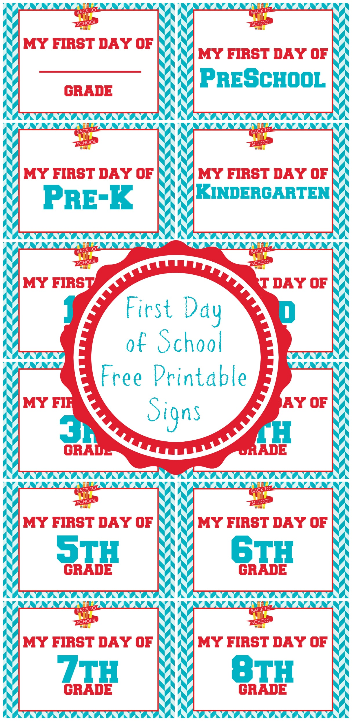 First Day of School Free Printable Signs - A Grande Life