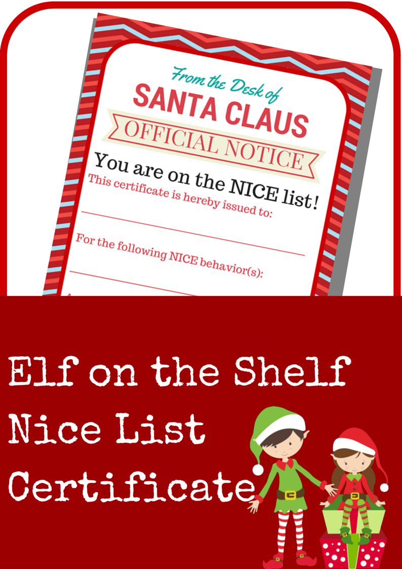Elf on the shelf nice list certificate printable a grande life spiritdancerdesigns Image collections