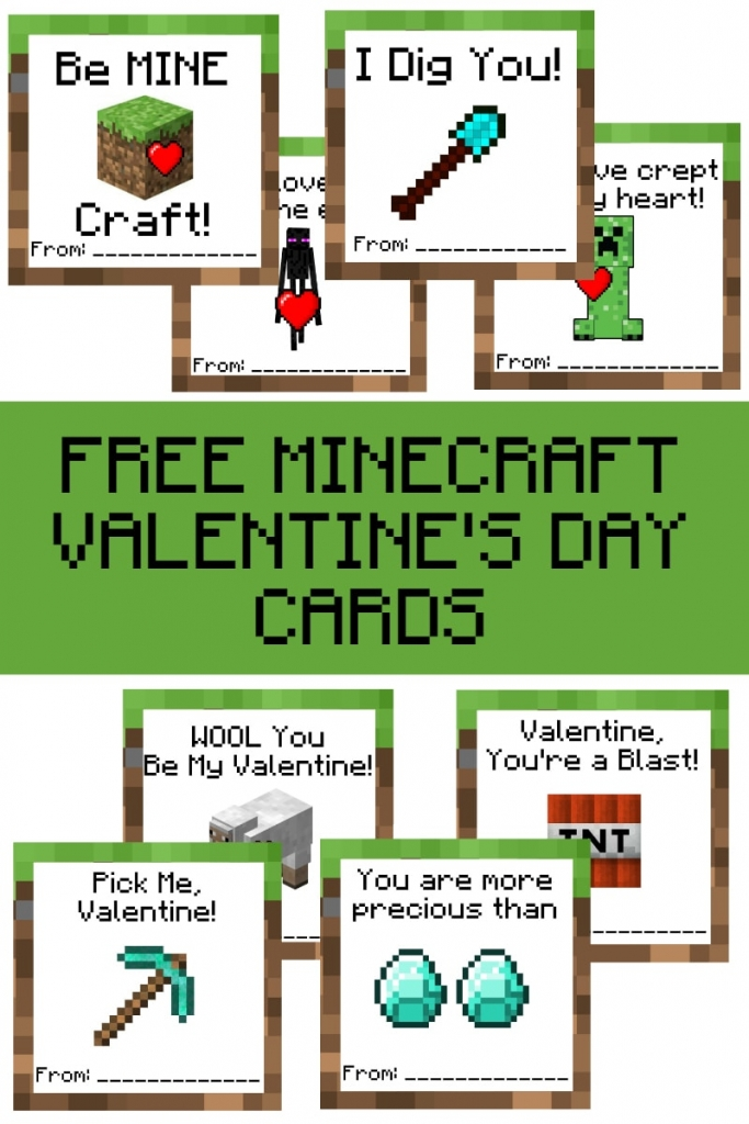 Free Printable Minecraft Valentine S Day Cards A Grande Life