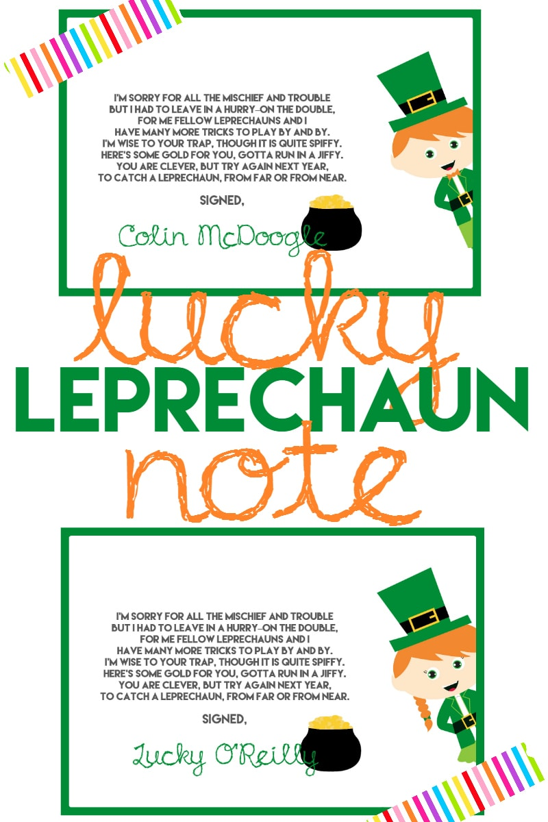 lucky leprechaun note printable