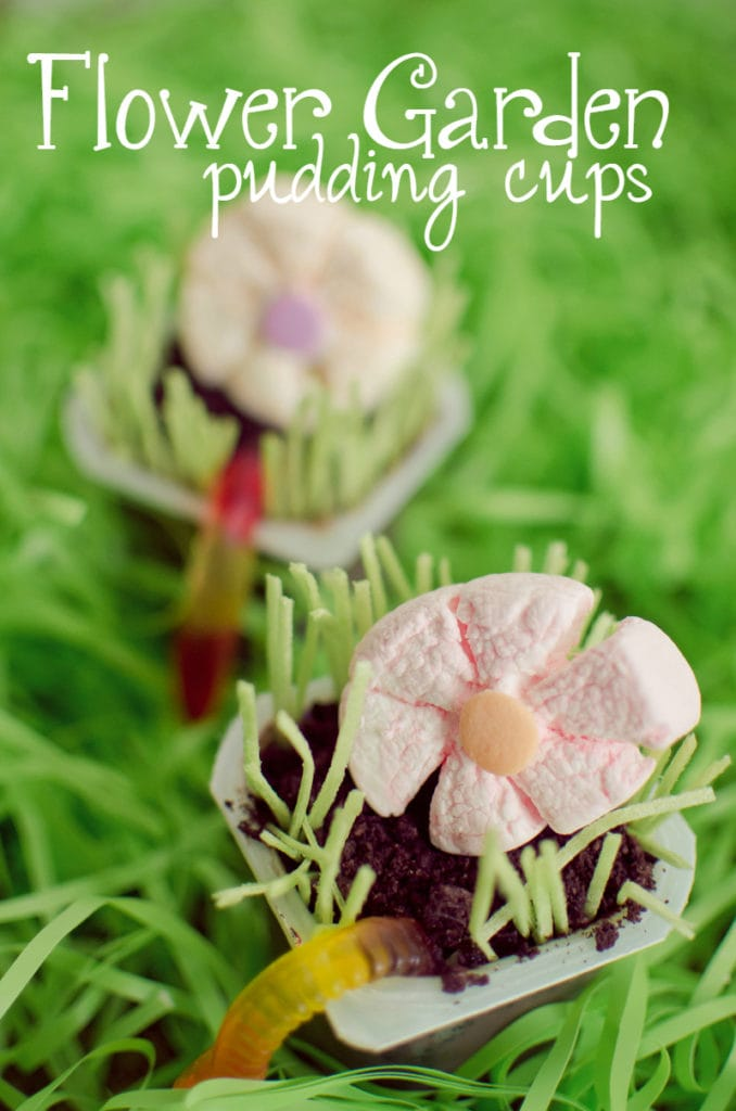 flower garden pudding cups