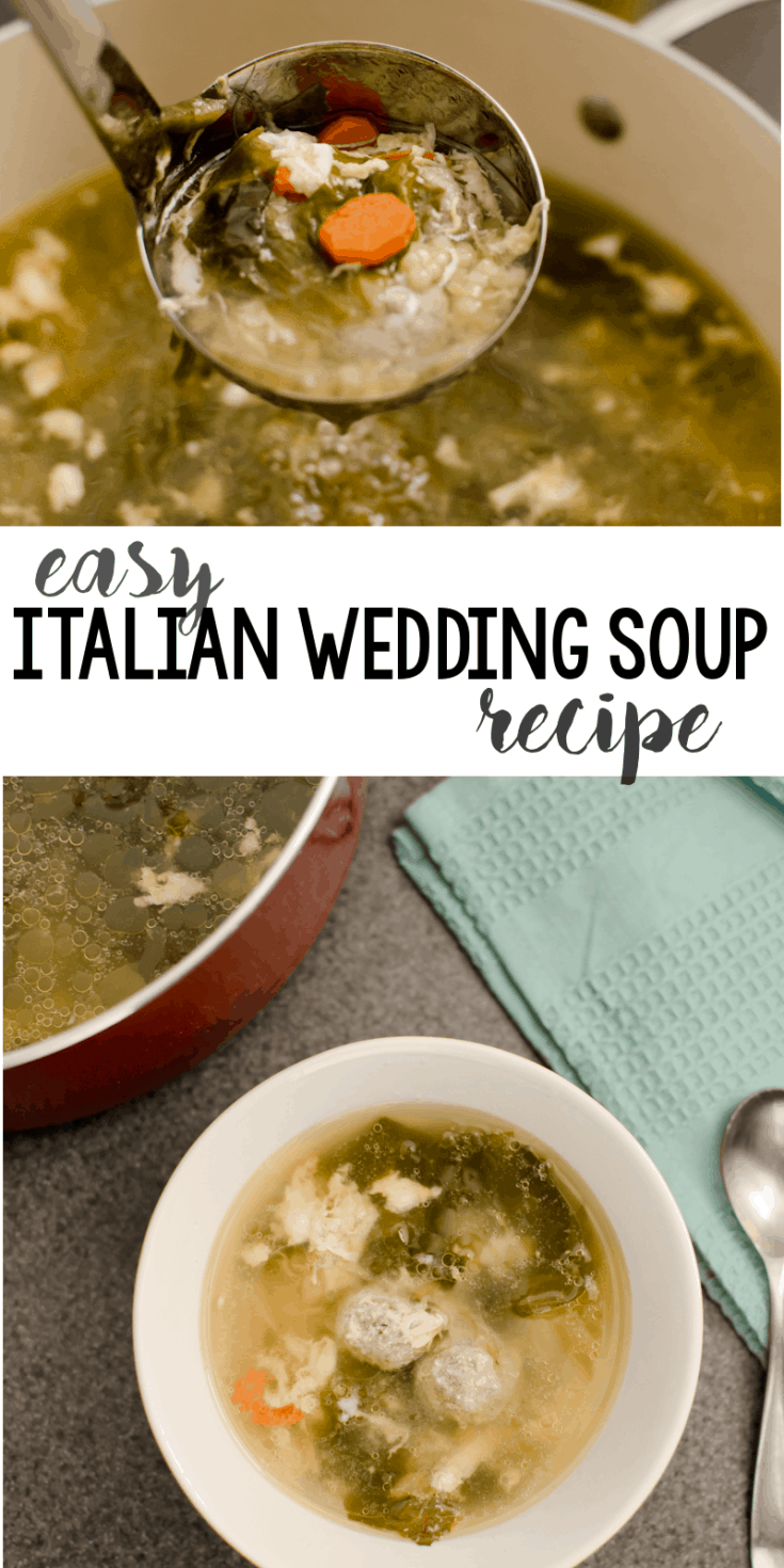 This Easy Italian Wedding Soup Recipe is a family staple. Made with escarole, mini meatballs, and acini de pepe.