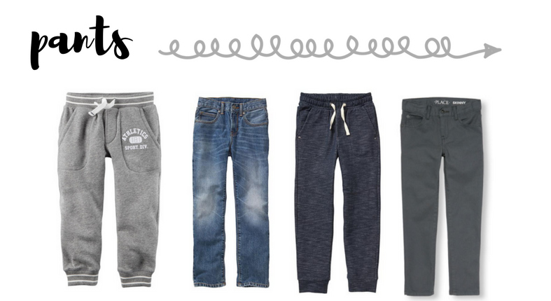 back to school wardrobe capsule for boys - pants