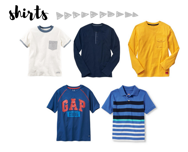 back to school wardrobe capsule for boys - shirts