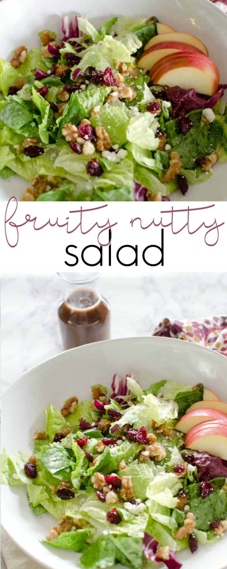 A recipe for a fruit, nut and crumbled cheese salad over mixed greens with balsamic vinaigrette!