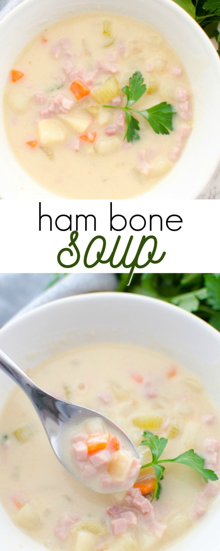 This recipe for ham bone soup is a great way to use up leftover ham: creamy and loaded with ham, potatoes and veggies!