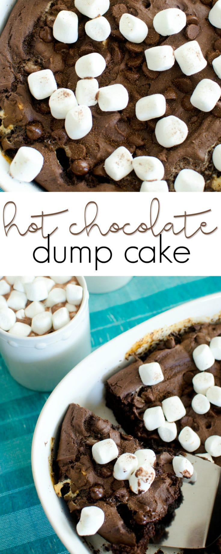 There's no need to decide between hot cocoa and chocolate cake – you can have both with this Hot Chocolate Dump Cake! ☕❄️☕❄️ This easy chocolate cake is topped with marshmallows and can be made before the kids come in from playing in the snow!