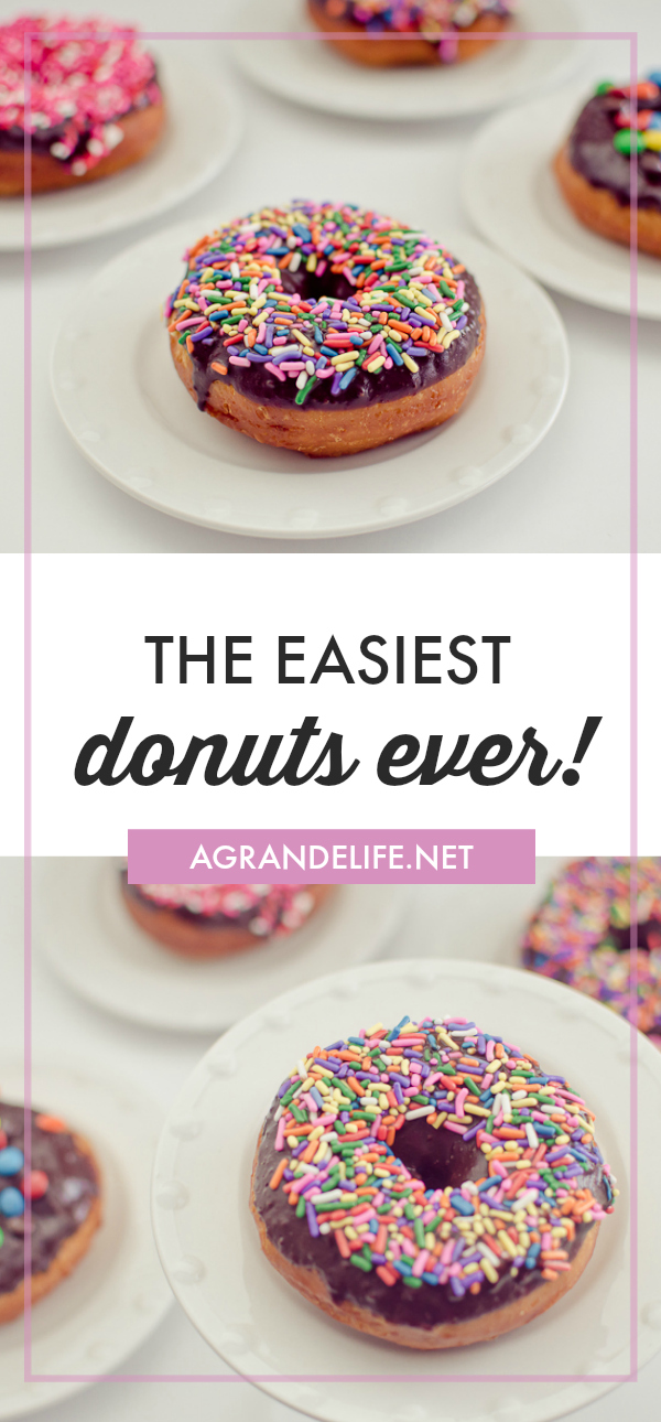 These Easy Donuts are so easy to make thanks to canned biscuits! They only take a few minutes to make and are melt in your mouth delicious!