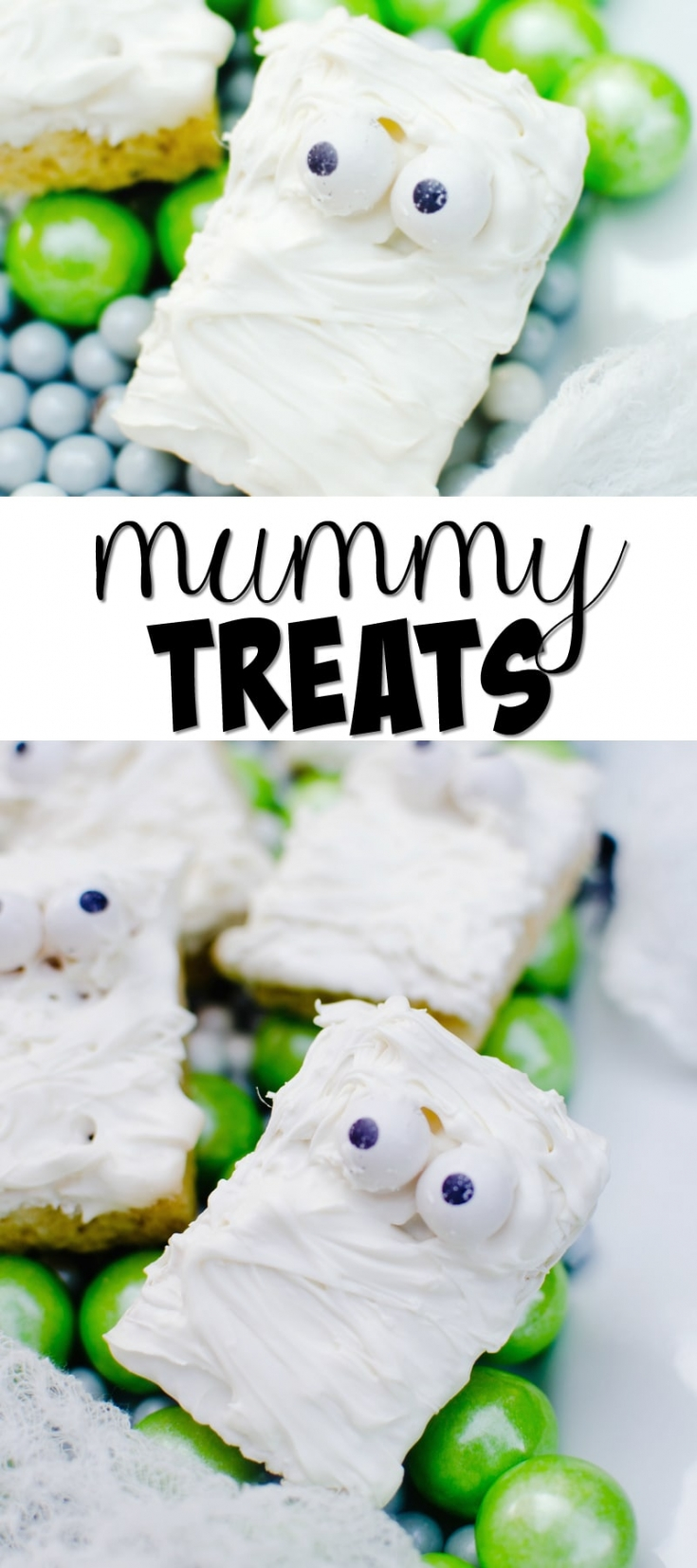 These Mummy Treats are a fun and easy treat to make up for Halloween parties or class treats.