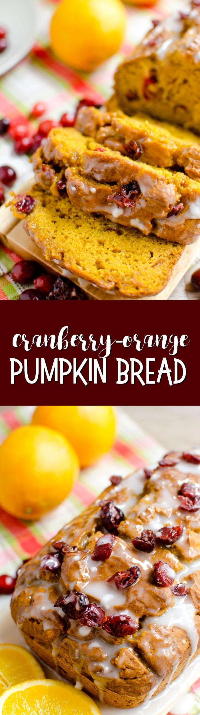 Cranberry-Orange Pumpkin Bread combines your favorite pumpkin-spiced pumpkin bread with a tart cranberry surprise!