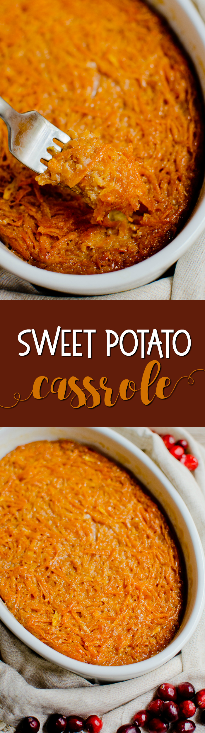 This easysweet potato casseroleis made with gratedsweet potatoes and baked to perfection!