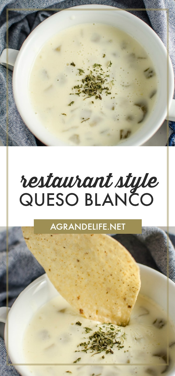 Make this smooth and creamy Queso Blanco, just like you'll get at your favorite Mexican Restaurant. It's super easy to make and will be the hit aat your next party!