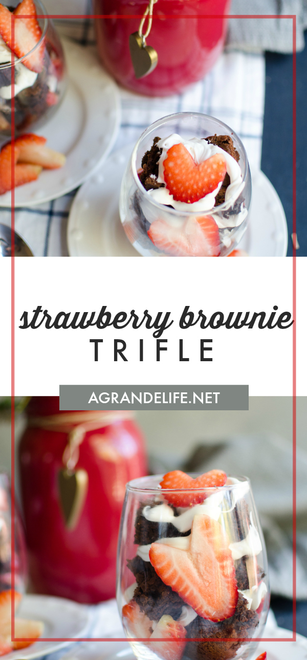 Brownie Strawberry Trifle is layered with fudgey brownies, fresh strawberries and sweet cream cheese icing.