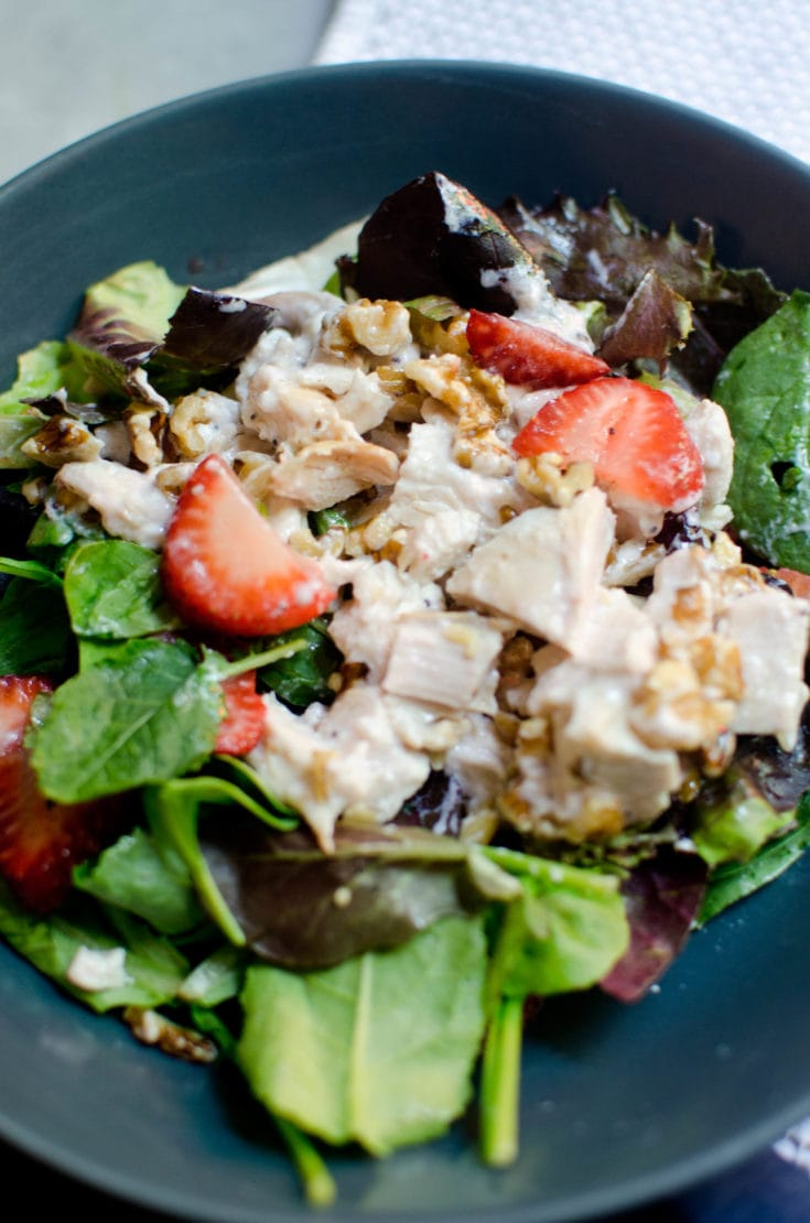 Spinach Strawberry and Walnut Salad with Creamy Raspberry Vinaigrette