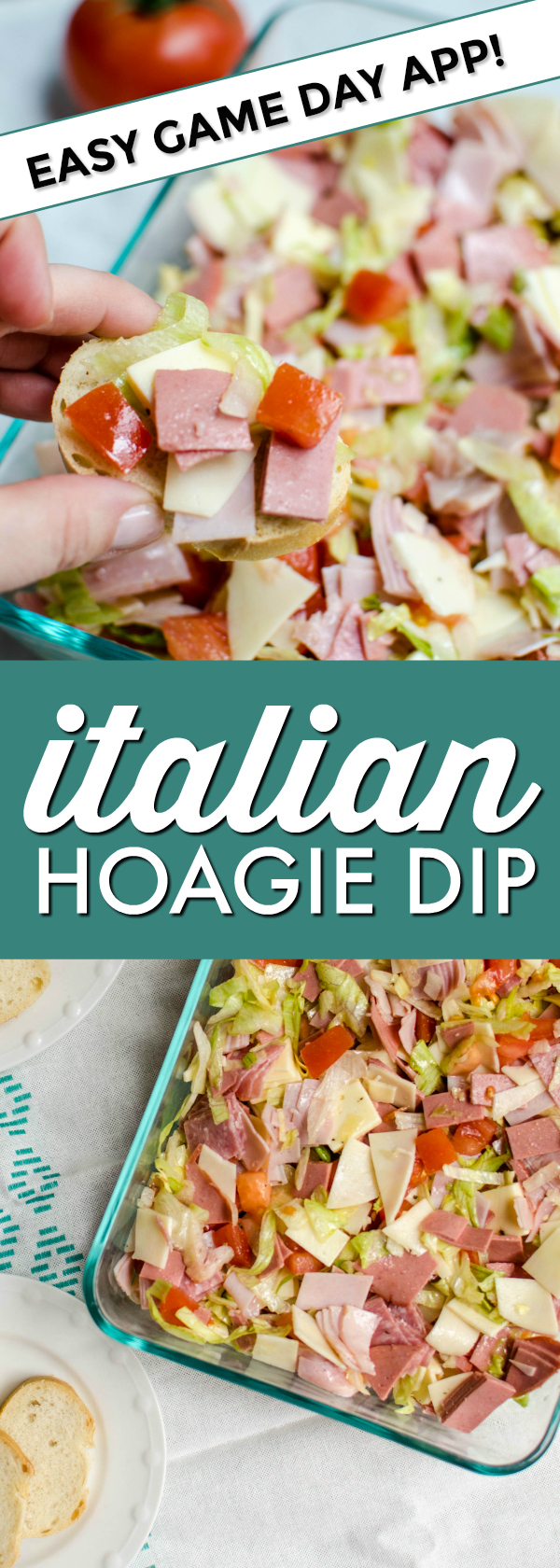 Your favorite Italian hoagie flavors and meats, chopped and served dip-style with crusty baguette slices.