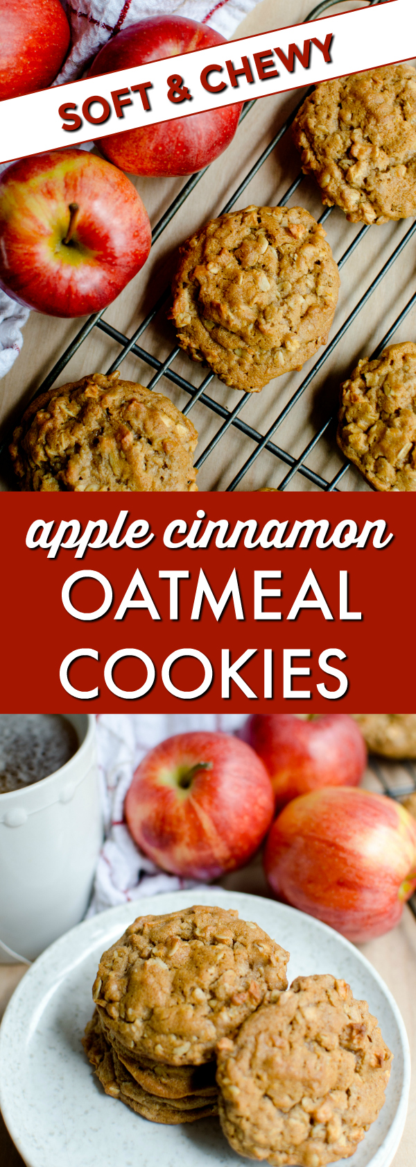 Apple Cinnamon Oatmeal Cookies are perfect any day of the year! Soft and chewy with a delicious apple cinnamon flavor. Comfort in every bite!