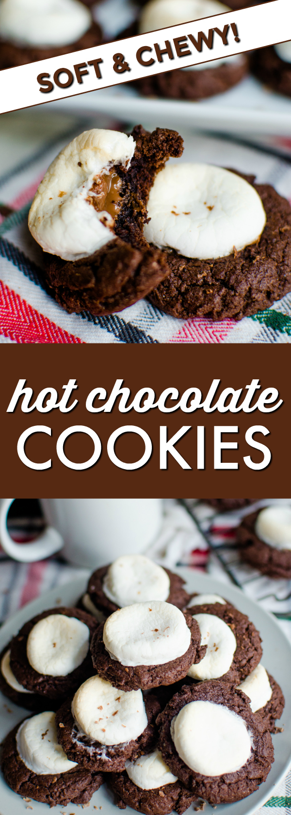 Delicious and chocolatey hot chocolate cookies topped with a gooey marshmallow and a hidden melted chocolate inside!