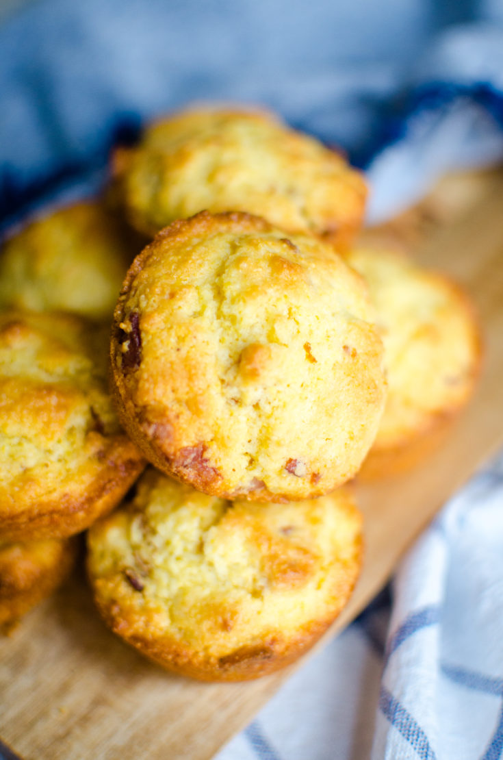 These Bacon Corn Muffins are the perfect side to accompany your favorite soup or chili recipe!