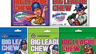 Big League Chew Bubble Gum Variety Pack 5 Great Flavors with Cotton Candy, Sour Apple, Grape, Original, and Watermelon